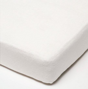 Baby fitted sheet of terry fabric