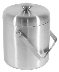 Ice bucket brushed stainless steel 2 ltr