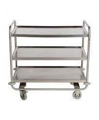 Service trolley stainless steel 18/10