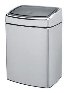 Rectangular waste bin with touch lid